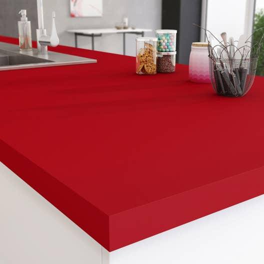 plan de travail stratifi rouge rouge 3 mat x cm mm leroy merlin. Black Bedroom Furniture Sets. Home Design Ideas