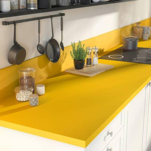plan de travail stratifi jaune serin mat x cm mm leroy merlin. Black Bedroom Furniture Sets. Home Design Ideas