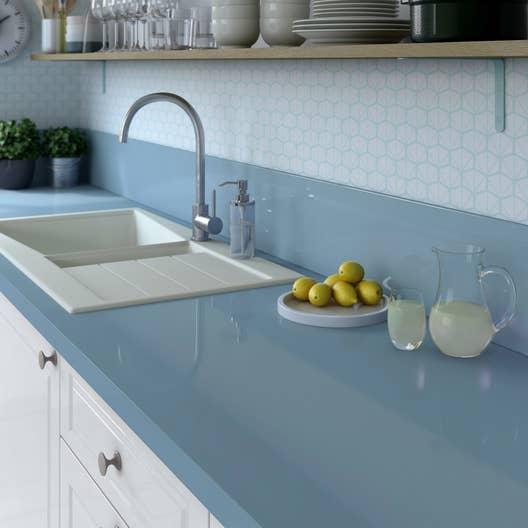 plan de travail stratifi bleu baltique 3 brillant x cm mm leroy merlin. Black Bedroom Furniture Sets. Home Design Ideas