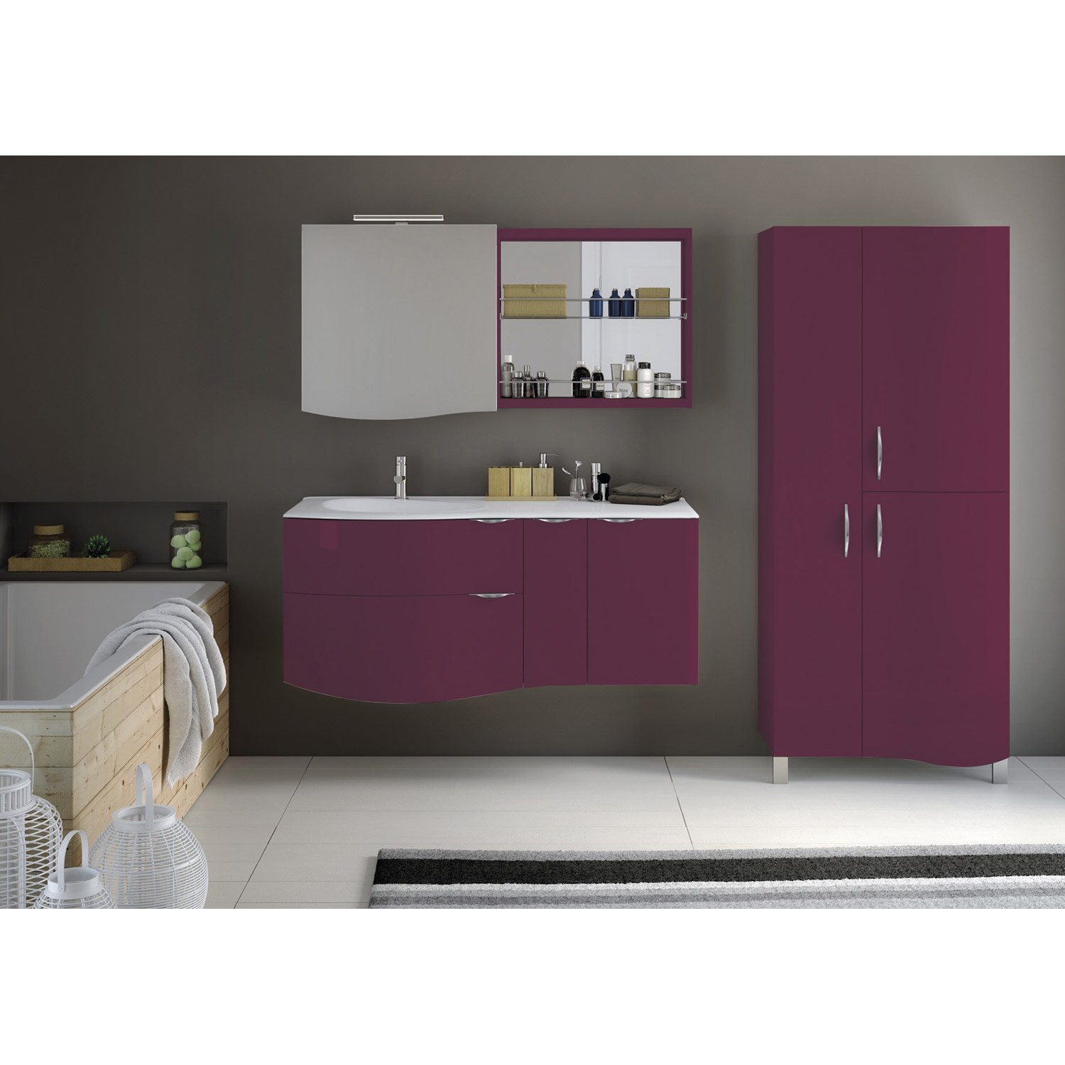 meuble de salle de bains plus de 120 violet elegance leroy merlin. Black Bedroom Furniture Sets. Home Design Ideas