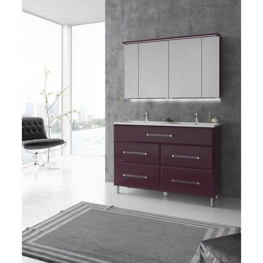 Meuble de salle de bains plus de 120 violet opale for Meuble salle de bain aubergine leroy merlin