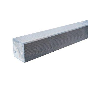 Poteau bois carré gris, H.240 x l.7 x P.7 cm
