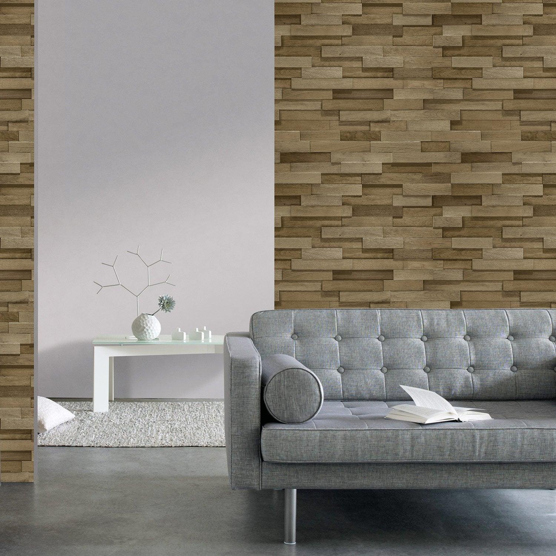 Papier peint intissé Briquette de bois marron | Leroy Merlin
