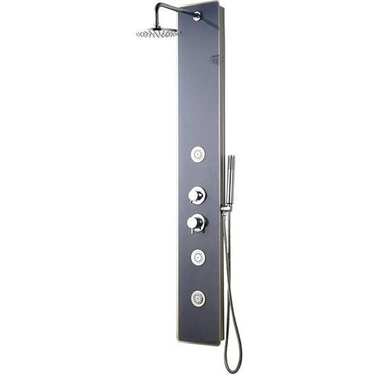 Cabine Douche Thalasso tout colonne de douche hydromassante avec robinetterie, gris, sana