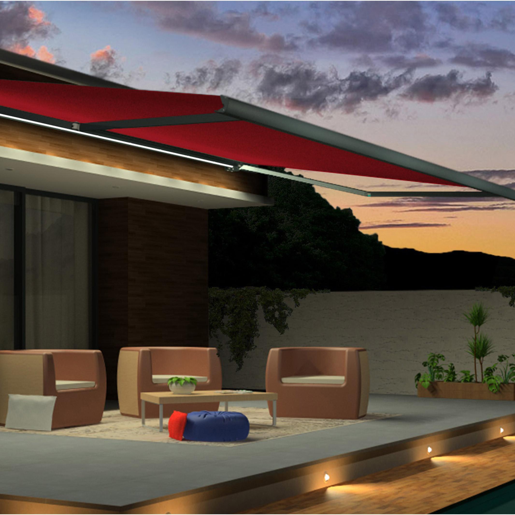 store banne motorisé 7 x 35 m led rouge gold2 xl toile