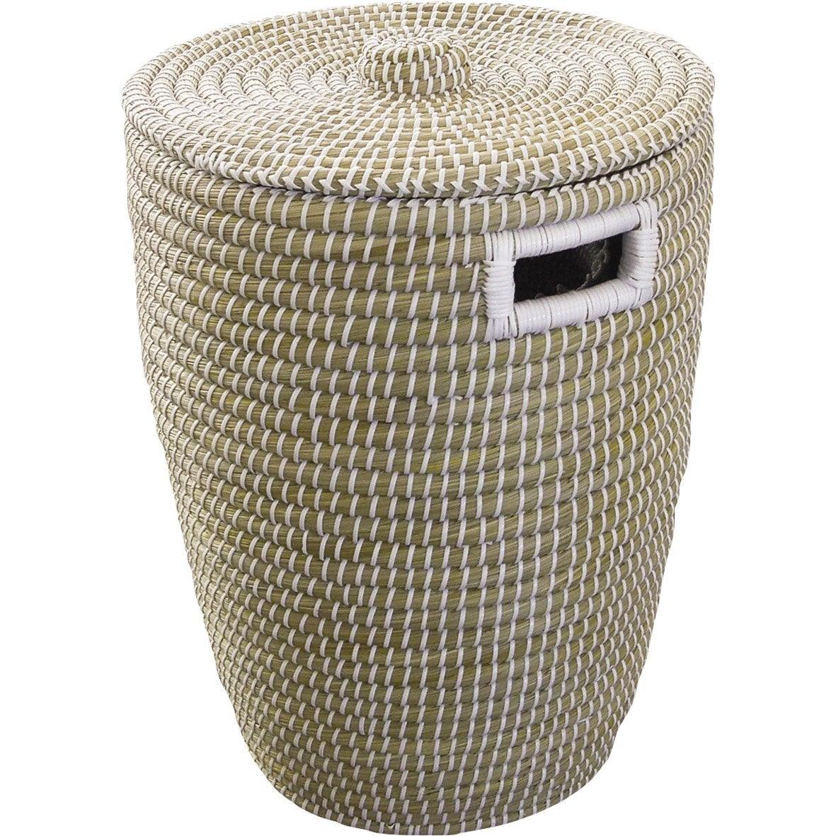 Panier à linge fibre végétale Phuket, naturel, l.40 x H.52 x P.40 cm