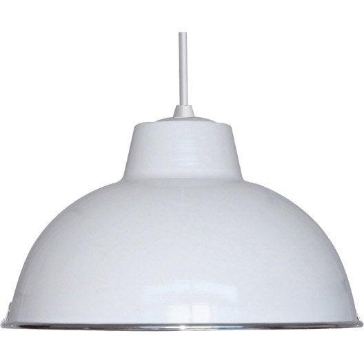 Suspension pop mars m tal blanc 1 x 60 w boudet leroy merlin - Suspension metal blanc ...