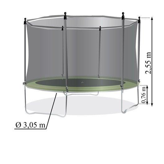 trampoline diam 305 cm noir  leroy merlin
