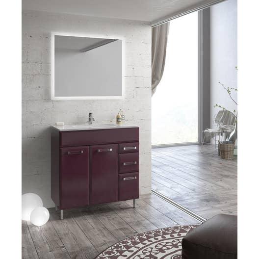 Meuble de salle de bains de 80 à 99, violet, Opale | Leroy Merlin