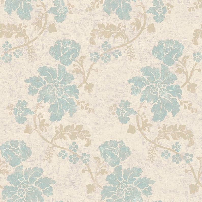 Papier Peint Flower Beige Marron Bleu Or Intisse Jade Leroy Merlin
