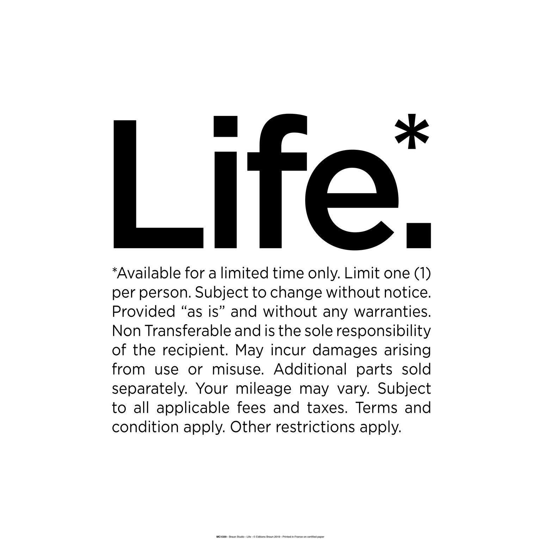 Affiche Life, noir et blanc l.40 x H.50 cm