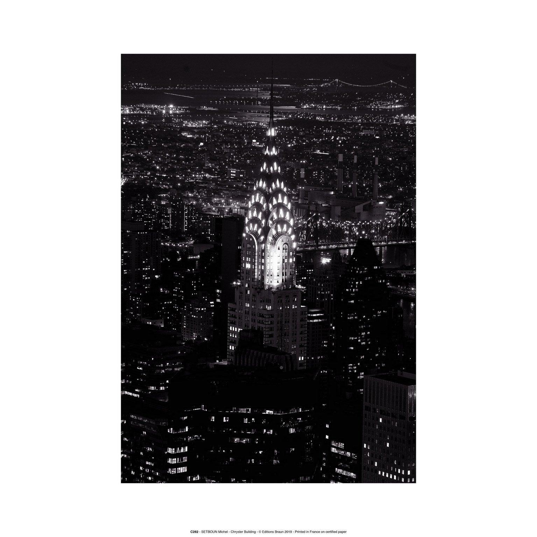 Affiche Chrysler building, blanc, gris et noir l.30 x H.40 cm