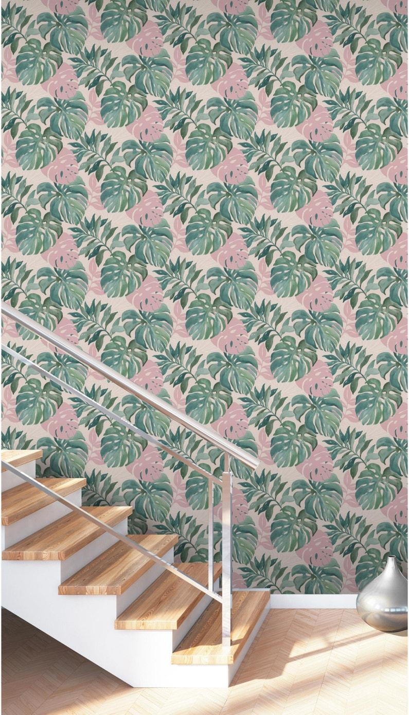 Papier Peint Motif Nature papier peint vinyle sur intissé motif jungle aquarelle bleu et rose