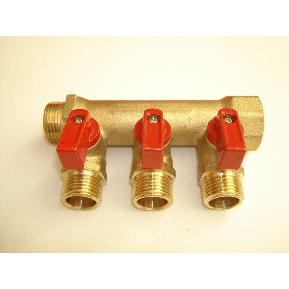 Collecteur 3 Départs Vannes à Compression Laiton M 15 X 21 Pour Tube En Per