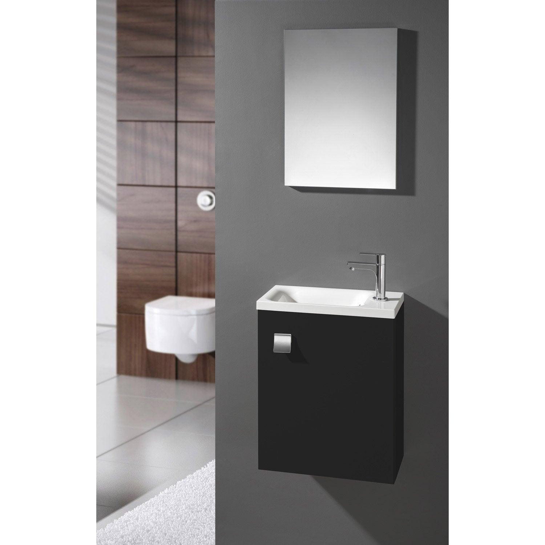 Meuble Lave Mains Avec Miroir Noir Noir N 0 L 40 X P 22 X H 53 5