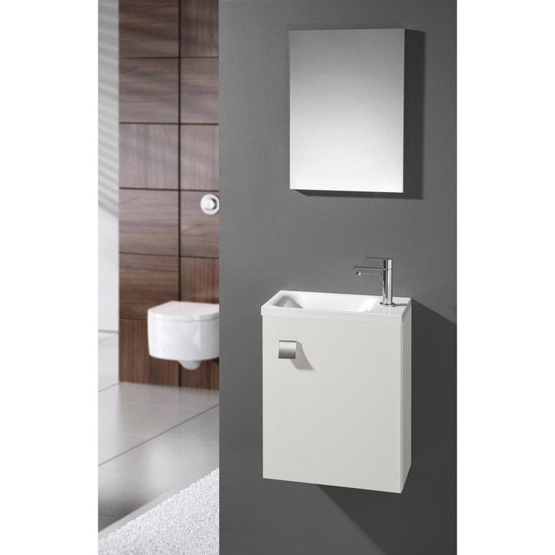 Meuble Lave Mains Avec Miroir Blanc Blanc N 0 L 40 X P 22 X H 53 5 Cm Coin D O