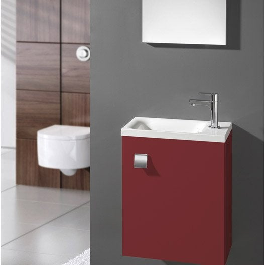 meuble lave mains avec miroir rouge rouge n 3 coin d 39 o leroy merlin. Black Bedroom Furniture Sets. Home Design Ideas