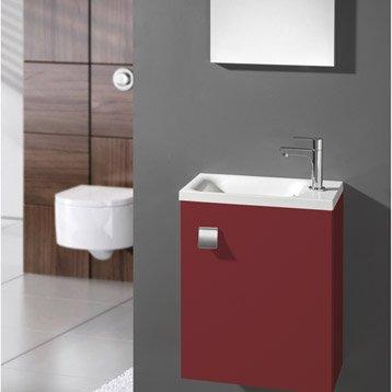 Meuble lave-mains avec miroir Rouge-Rouge n°3 Coin d'o