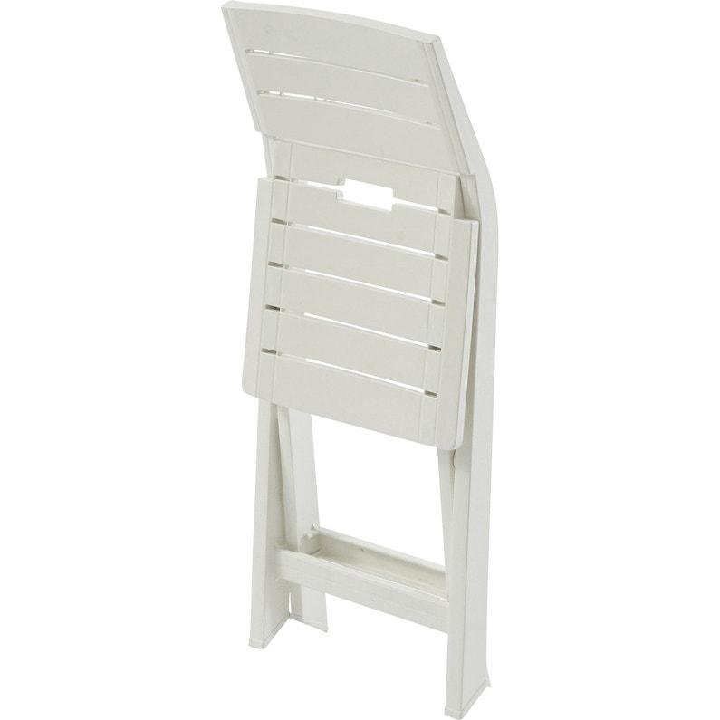 Chaise de jardin en résine injectée Gilda blanc   Leroy Merlin
