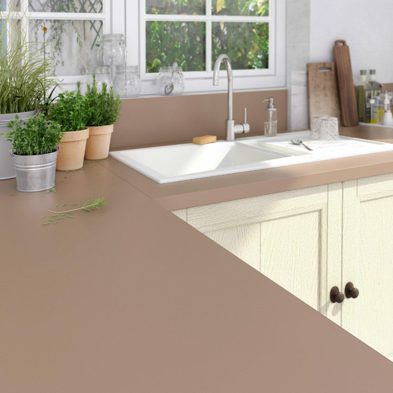 plan de travail stratifi brun tweed 2 mat x cm mm leroy merlin. Black Bedroom Furniture Sets. Home Design Ideas