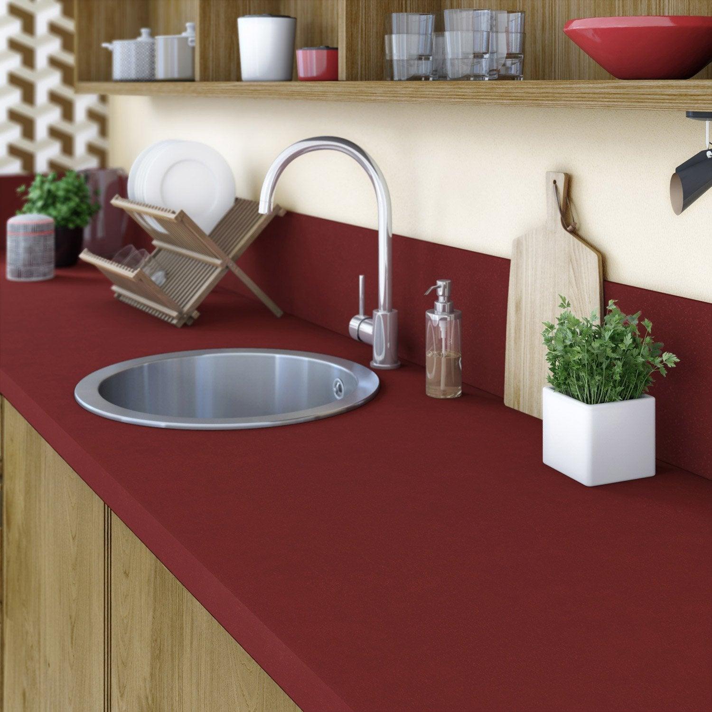 plan de travail stratifi rouge rouge 1 mat x cm mm leroy merlin. Black Bedroom Furniture Sets. Home Design Ideas