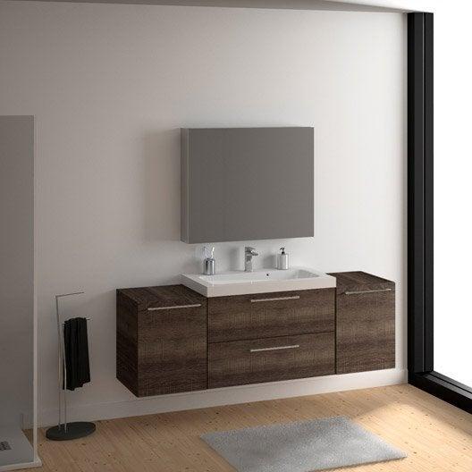 Meuble vasque 91 cm décor chêne havane, Remix | Leroy Merlin