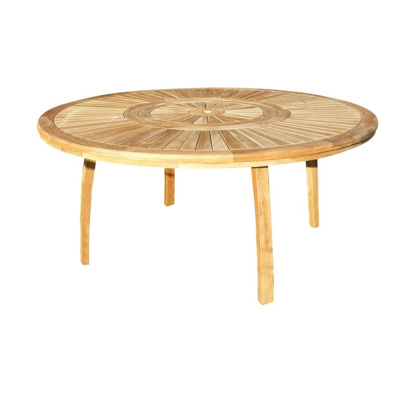 Table de jardin de repas Orion ronde naturel 8 personnes | Leroy Merlin