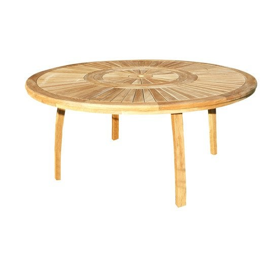 Table de jardin orion ronde naturel 8 personnes leroy merlin for Salon de jardin table ronde