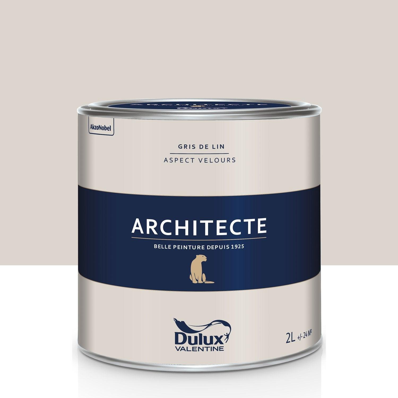 peinture gris de lin velours dulux valentine architecte 2 l leroy merlin. Black Bedroom Furniture Sets. Home Design Ideas