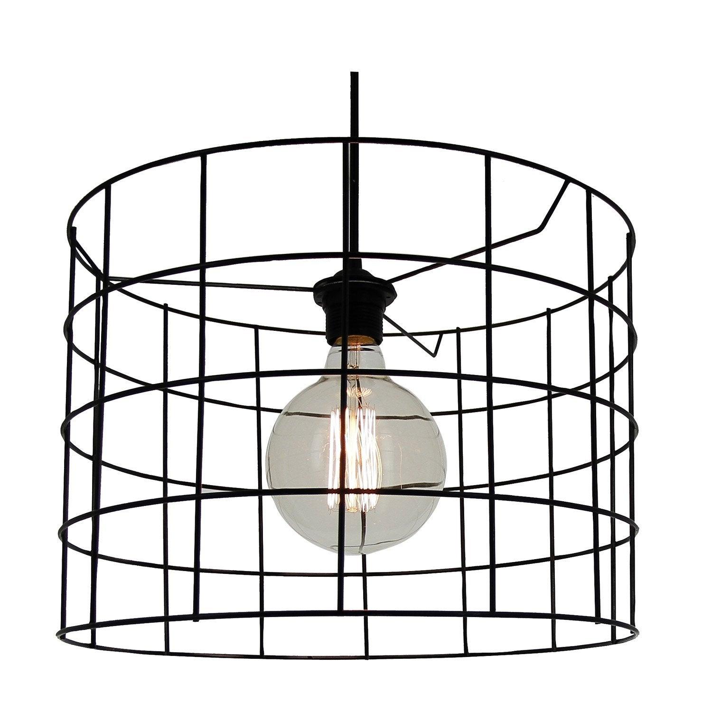 suspension e27 design cylindre carmen filaire m tal noir. Black Bedroom Furniture Sets. Home Design Ideas