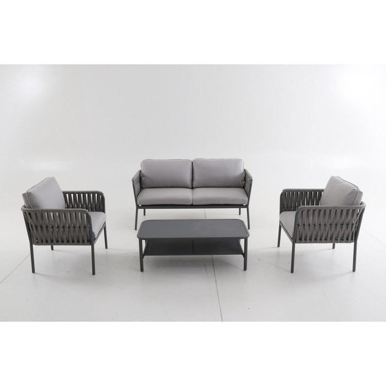 Salon bas de jardin aluminium, 4 personnes