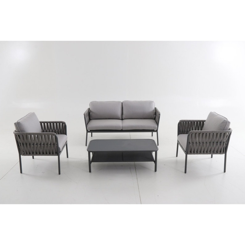 Salon bas de jardin Valencia aluminium gris, 4 personnes | Leroy Merlin