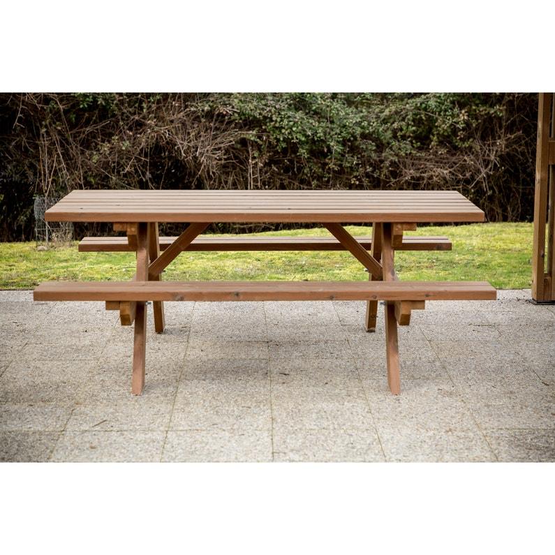 Salon de jardin Tf th bois bois naturel, 6 personnes