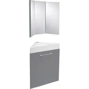 Meuble lave-mains avec miroir Gris galet n°3, SENSEA Remix