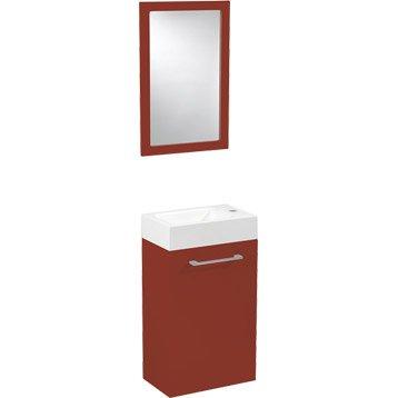 Meuble lave-mains avec miroir Rouge-Rouge n°3, SENSEA Remix