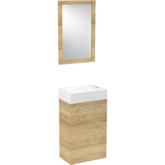 Meuble lave mains avec miroir sensea remix leroy merlin for Meuble de toilette leroy merlin