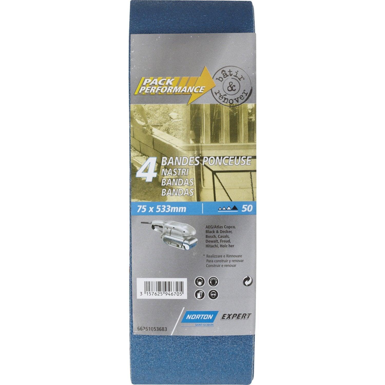 lot de 4 bandes abrasives norton 75x533 mm grains 50 leroy merlin. Black Bedroom Furniture Sets. Home Design Ideas