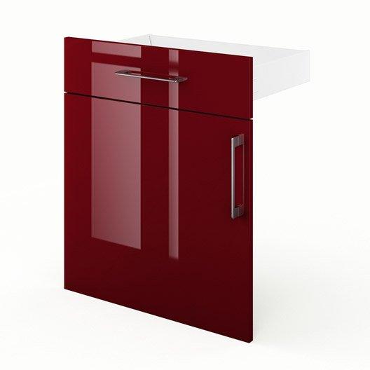 Porte et tiroir de cuisine rouge griotte x x p for Porte 70 cm de large