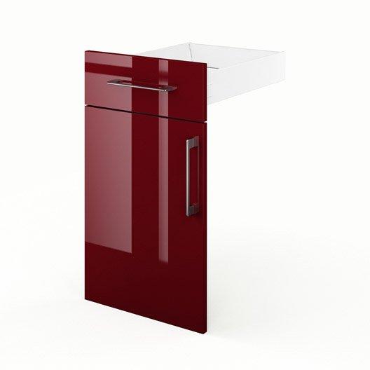 Porte et tiroir de cuisine rouge FD40 Griotte, L.40 x H.70 x P.55 ...