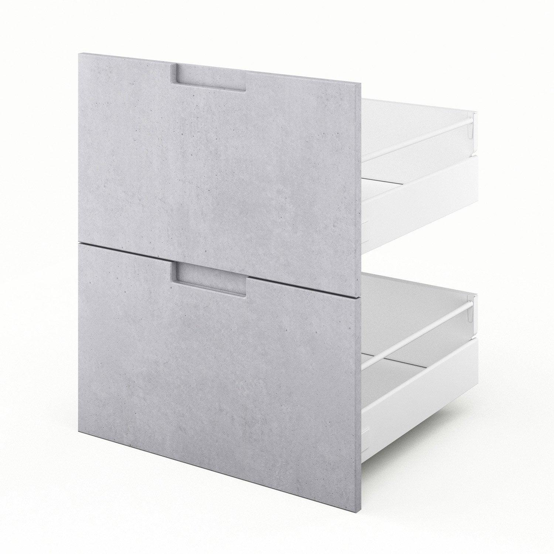 2 tiroirs de cuisine décor béton Berlin, L.60 x H.70 x P.55 cm
