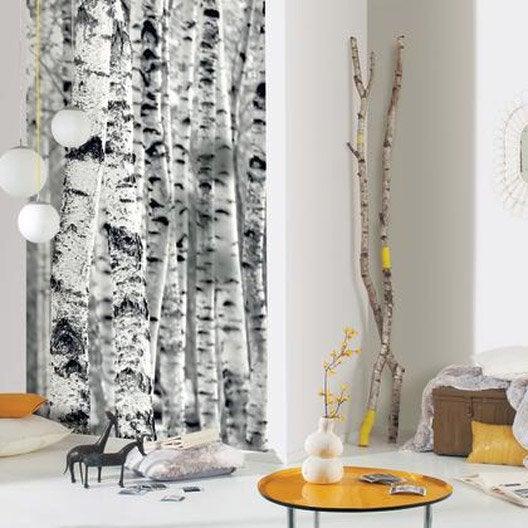 Papier peint bouleau noir et blanc intiss sherwood leroy merlin - Papier peint blanc et noir ...