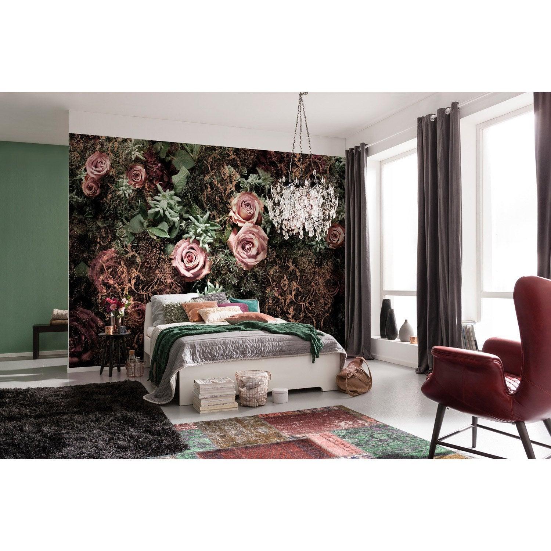 Papier peint panoramique Velvet rose, vert & noir papier KOMAR l.368 x H.254 cm