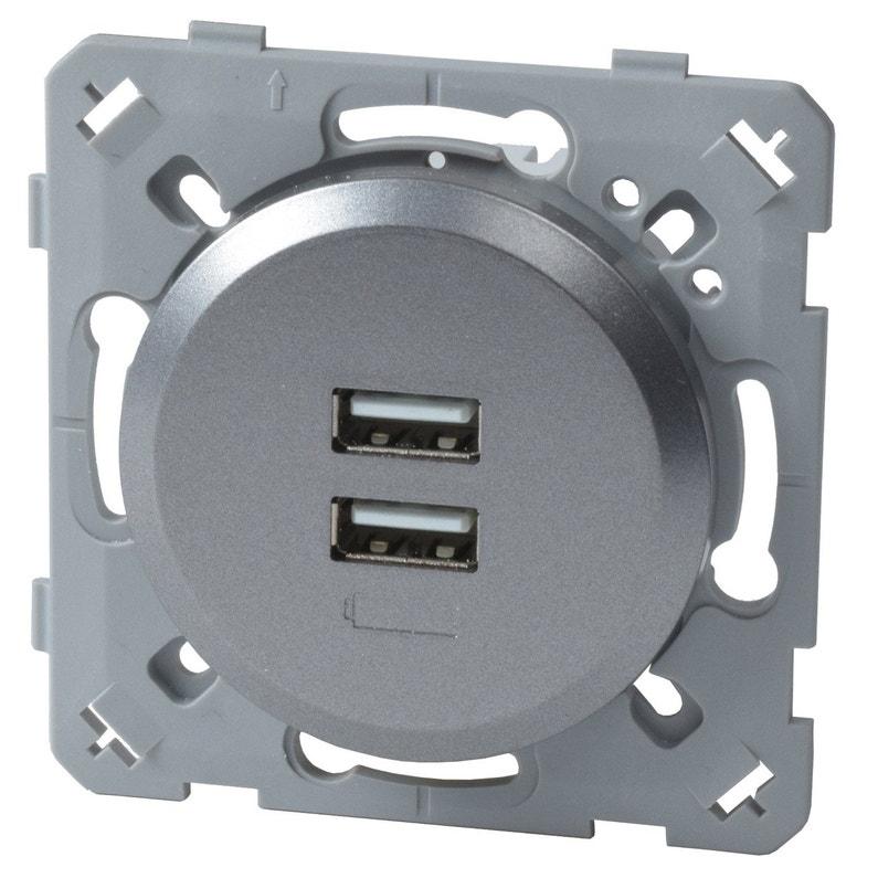 Prise Chargeur Double Usb Epure Lexman Gris Aluminium