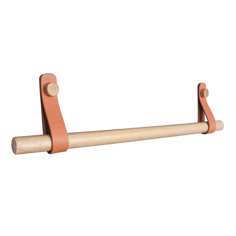 Porte-serviettes 1 barre fixe Capsule effet cuir et bois