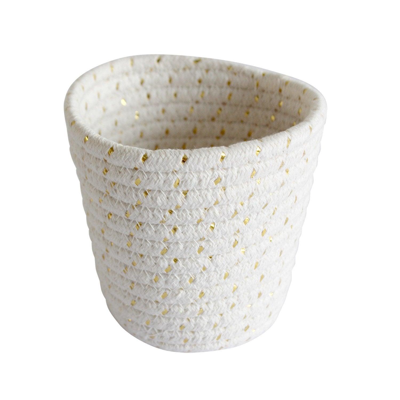 Panier en coton blanc et or, Mini cordou