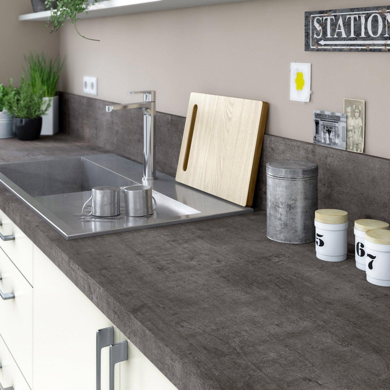 plan de travail stratifi steel noir mat x cm mm leroy merlin. Black Bedroom Furniture Sets. Home Design Ideas