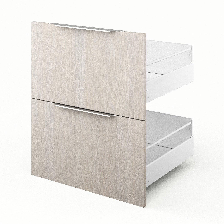 2 tiroirs de cuisine décor bois Nordik, L.60 x H.70 x P.55 cm