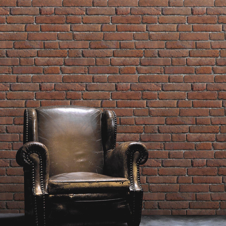 un papier peint trompe l 39 oeil brique pour r chauffer le salon leroy merlin. Black Bedroom Furniture Sets. Home Design Ideas