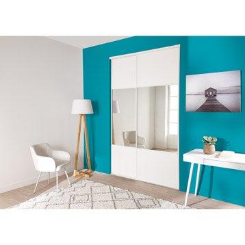 Lot de 2 portes de placard + rail coulissante blanc et miroir l.120 x H.250 cm