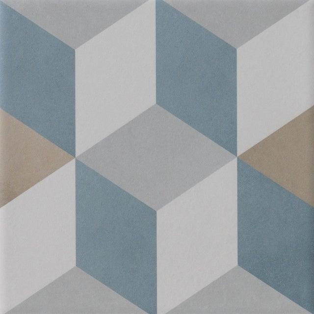 Carrelage sol, mur bleu beige effet carreau de ciment Patrimony cube  l.20xL.20cm